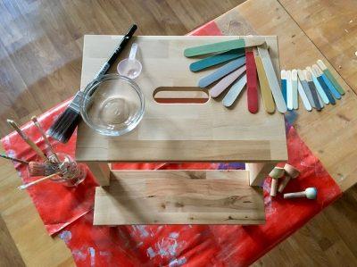 Es stehen Dir während des DIY Milk Paint Workshops 24 unterschiedliche, warme Farbtöne der nachhaltig produzierten Miss Mustard Seed Linie zur Gestaltung zur Verfügung